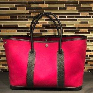 HERMES Garden Party Red Black Canvas Tote 2006